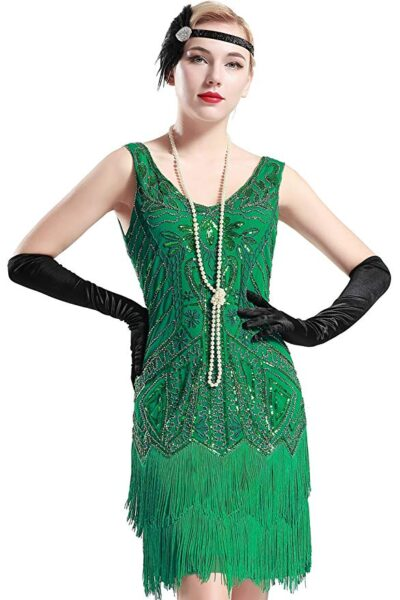 Make everyone green with envy with this gorgeous green flapper dress.