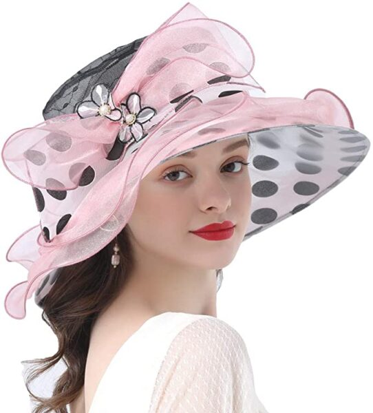 tea party hats pink black and white